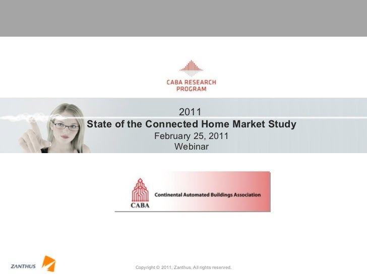 Copyright © 2011, Zanthus. All rights reserved. 2011  State of the Connected Home Market Study February 25, 2011 Webinar
