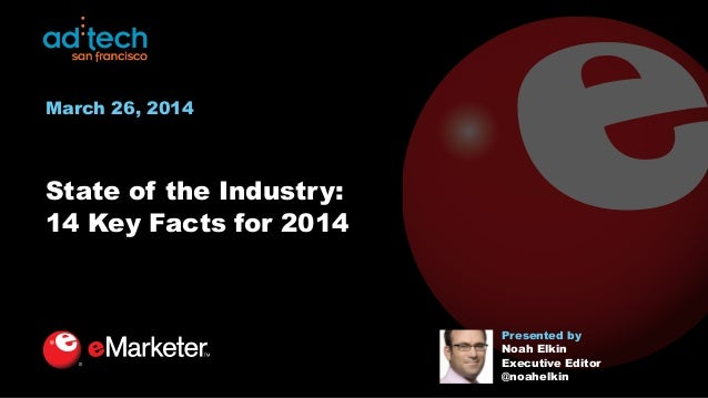 State of the Industry: 14 Key Facts for 2014 Presented by Noah Elkin Executive Editor @noahelkin March 26, 2014