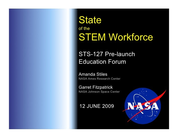 State of the  STEM Workforce STS-127 Pre-launch Education Forum Amanda Stiles NASA Ames Research Center  Garret Fitzpatric...