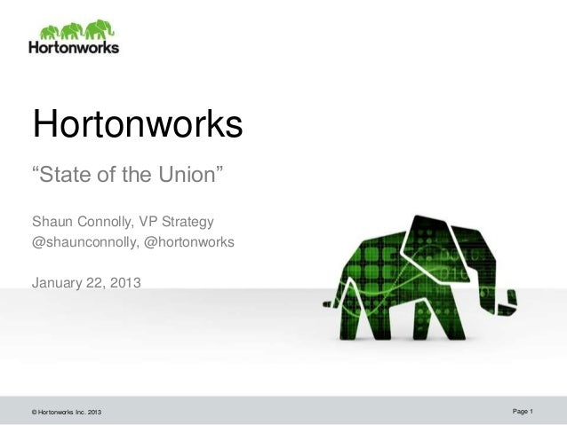 """Hortonworks""""State of the Union""""Shaun Connolly, VP Strategy@shaunconnolly, @hortonworksJanuary 22, 2013© Hortonworks Inc. 2..."""