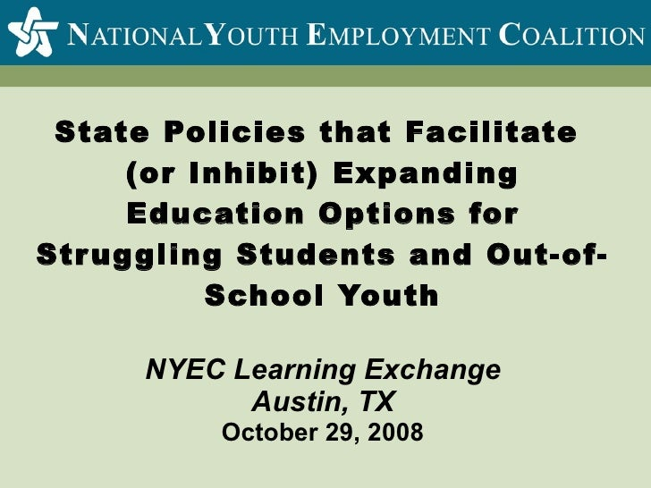 State Policies To Expand Education Options Oct 2008
