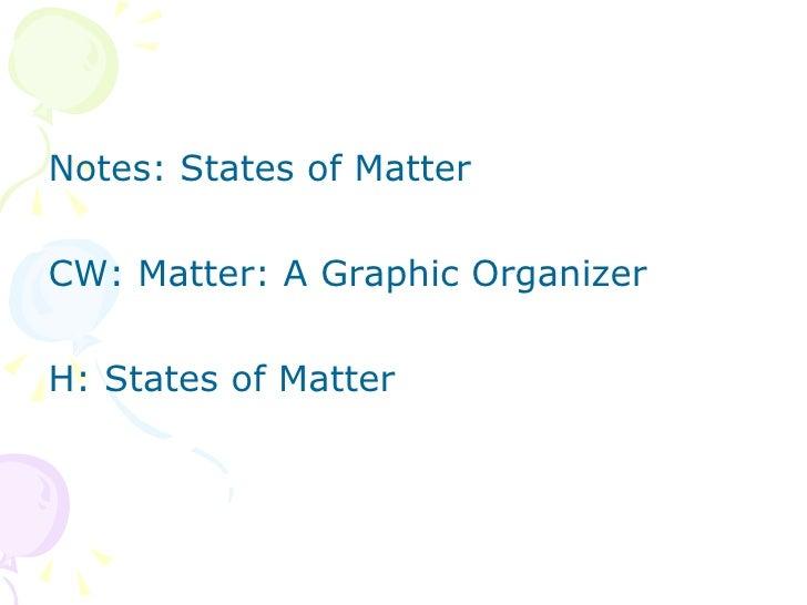 <ul><li>Notes: States of Matter  </li></ul><ul><li>CW: Matter: A Graphic Organizer </li></ul><ul><li>H: States of Matter <...