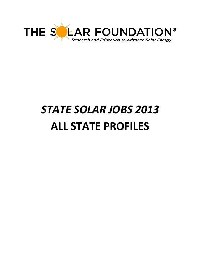 STATE SOLAR JOBS 2013 ALL STATE PROFILES