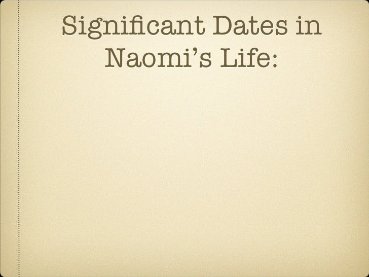 Significant Dates in   Naomi's Life: