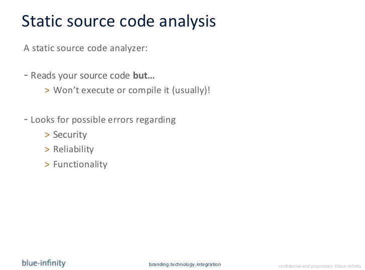 static analysis of a source code