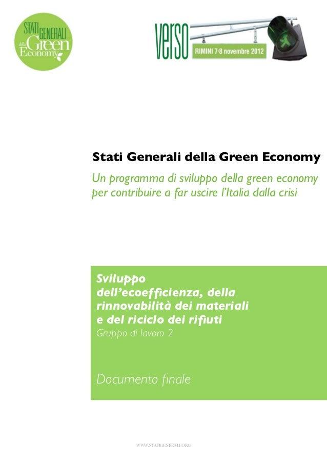 Stati generali della green economy 2012 un programma di sviluppo della green economy