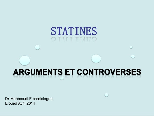 STATINES Dr Mahmoudi.F cardiologue Eloued Avril 2014