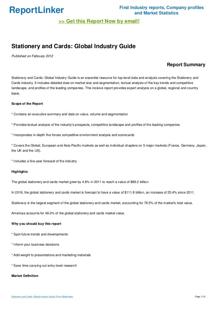 Stationery and Cards: Global Industry Guide