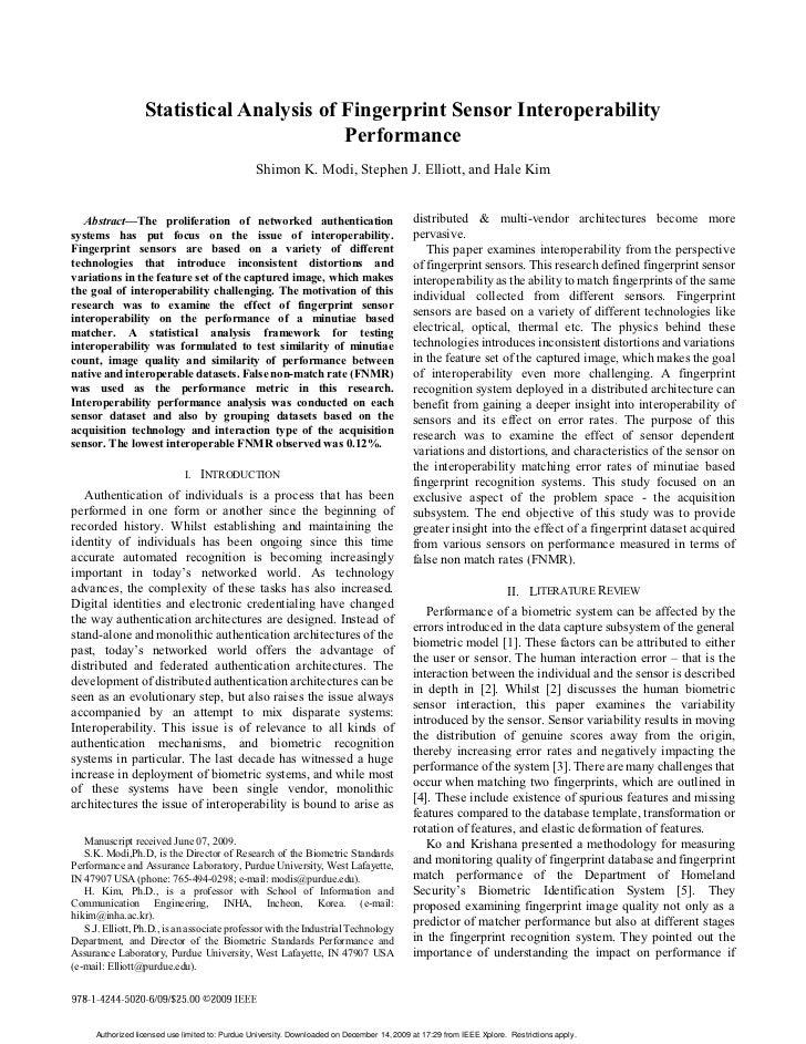 (2009) Statistical Analysis Of Fingerprint Sensor Interoperability