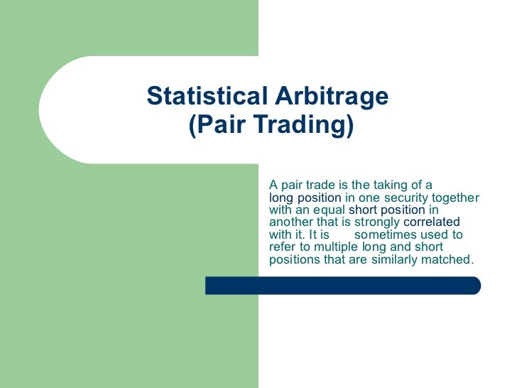 Trading strategies statistical arbitrage