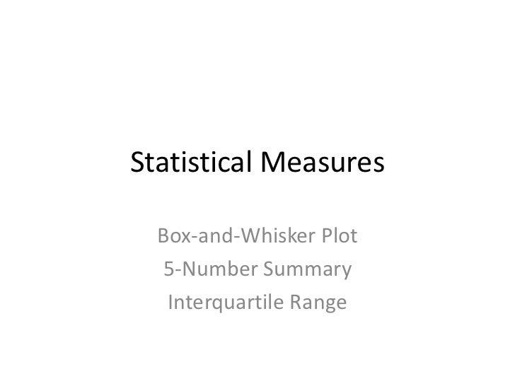 Statistical measures   box plots