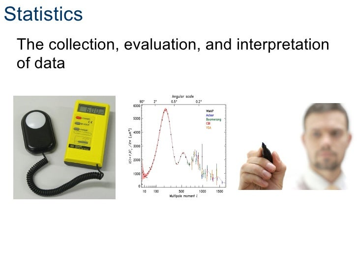 Statistics The collection, evaluation, and interpretation of data