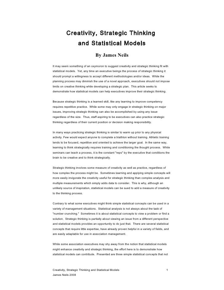 Creativity, Strategic Thinking and Statistical Models