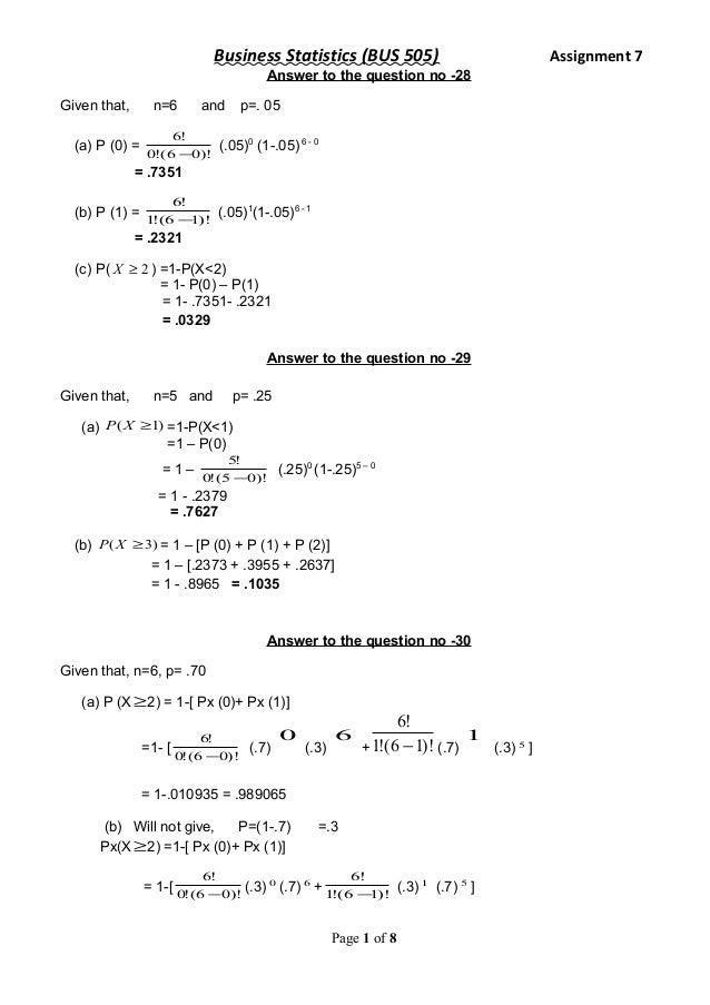Assignment statistics