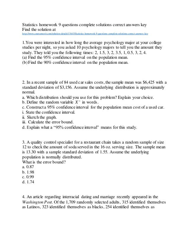 Statistics homework answers