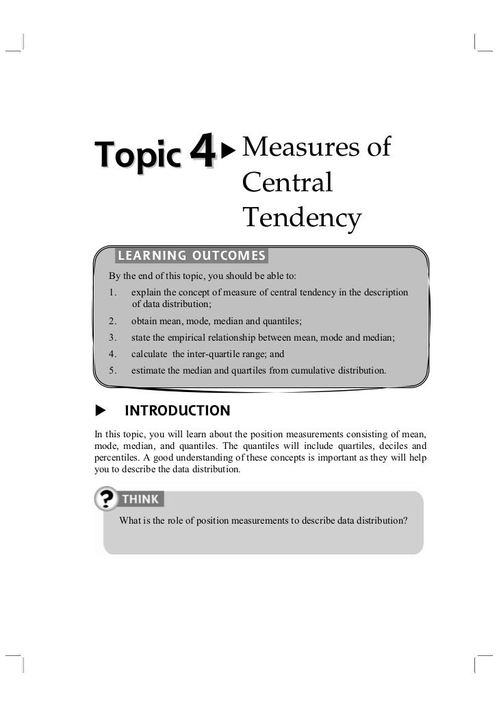 Topic 4                                Measures of                                       Central                          ...