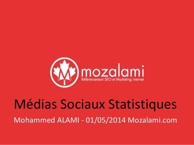 Médias Sociaux Statistiques  Mohammed ALAMI - 01/05/2014 Mozalami.com