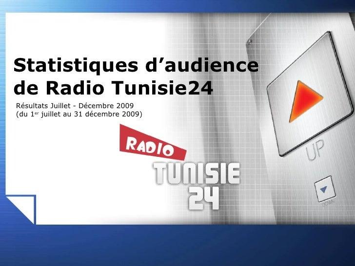 Résultats Juillet - Décembre 2009 (du 1 er  juillet au 31 décembre 2009) Statistiques d'audience de Radio Tunisie24