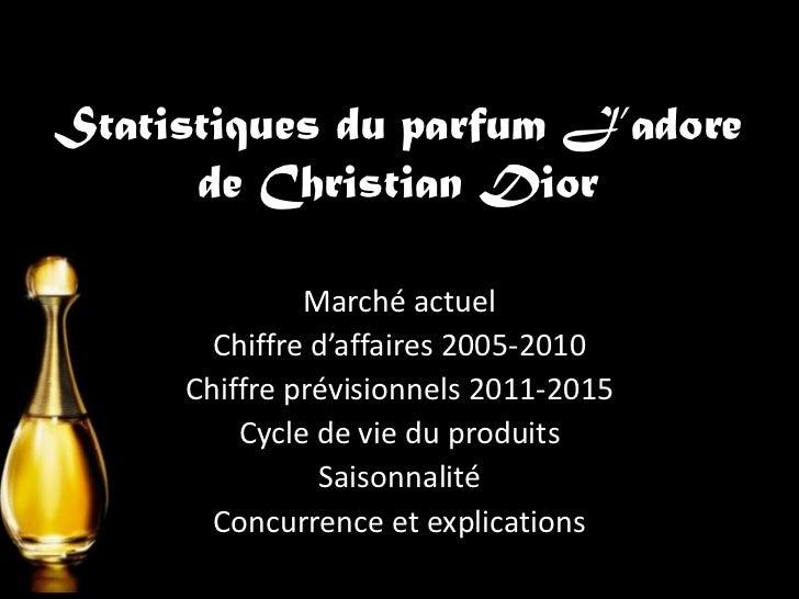 Statistiques du parfum J'adore      de Christian Dior              Marché actuel       Chiffre d'affaires 2005-2010     Ch...