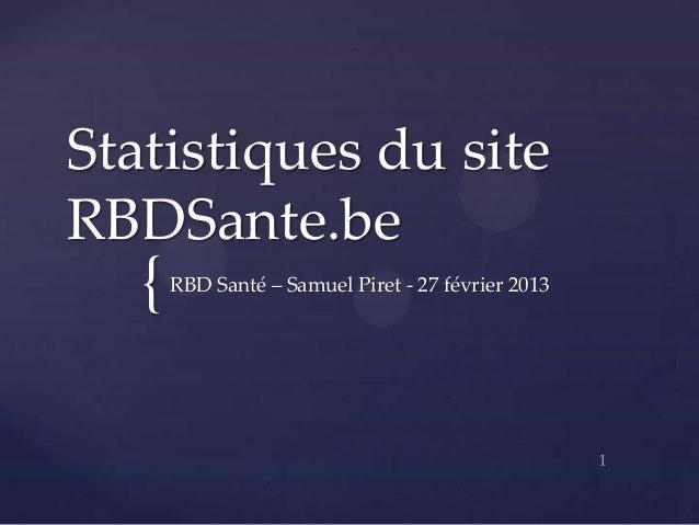 Statistiques du siteRBDSante.be   {   RBD Santé – Samuel Piret - 27 février 2013