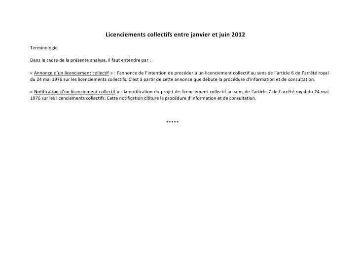 Licenciements collectifs entre janvier et juin 2012TerminologieDans le cadre de la présente analyse, il faut entendre par ...
