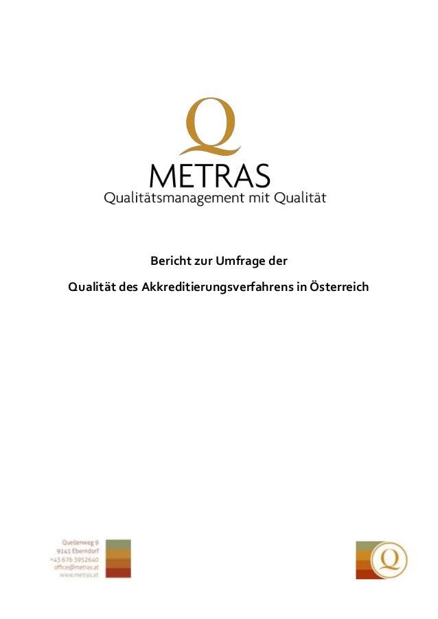 Bericht zur Umfrage der Qualität des Akkreditierungsverfahrens in Österreich