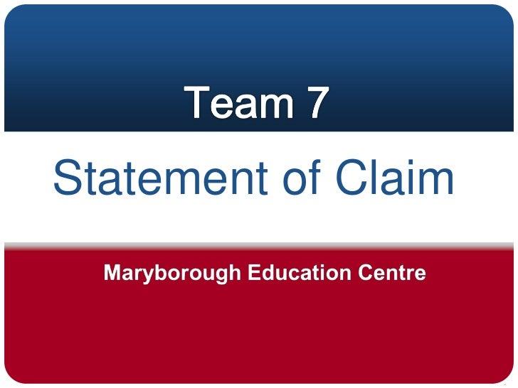 Statment of claim