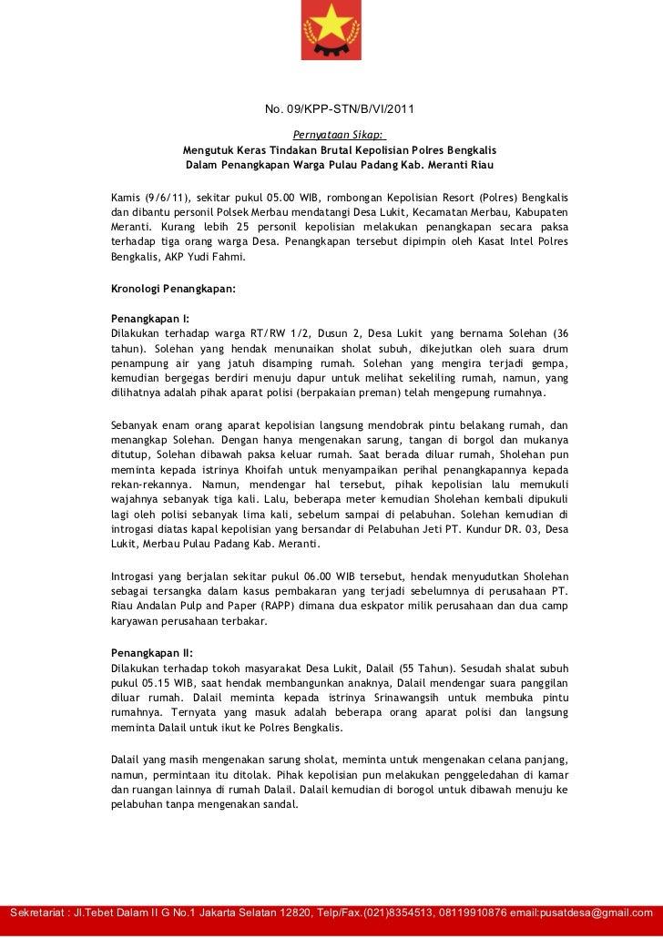 No. 09/KPP-STN/B/VI/2011                                                    Pernyataan Sikap:                             ...