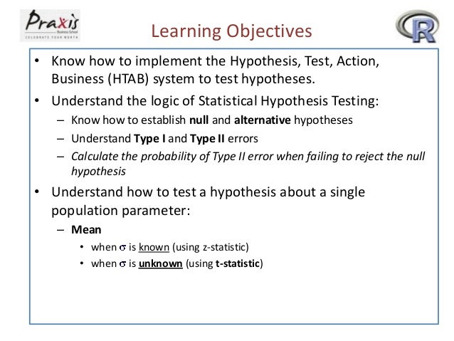 Learning Objectives • Know how to implement the Hypothesis, Test, Action, Business (HTAB) system to test hypotheses. • Und...