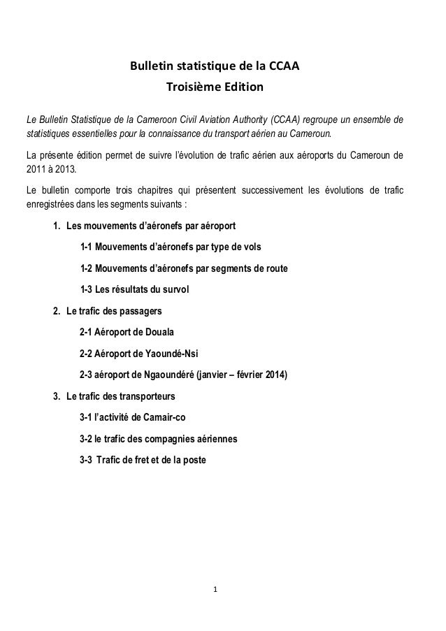 Bulletin statistique de la CCAA Troisième Edition Le Bulletin Statistique de la Cameroon Civil Aviation Authority (CCAA) r...