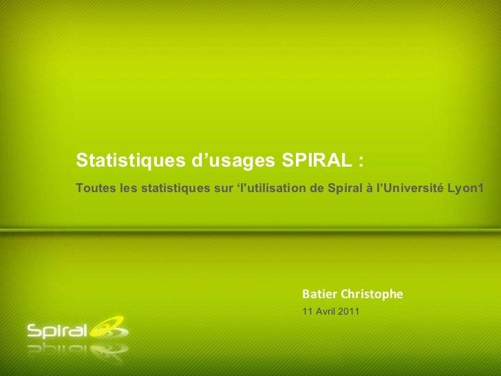 Batier Christophe Toutes les statistiques sur 'l'utilisation de Spiral à l'Université Lyon1 Statistiques d'usages SPIRAL :...