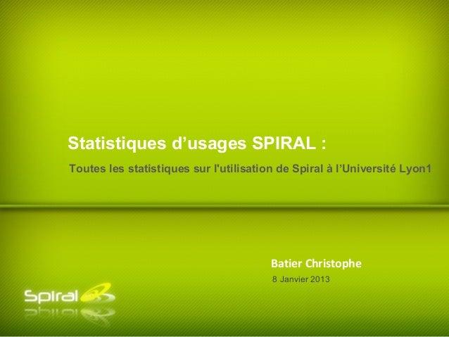 Statistiques d'usages SPIRAL :Toutes les statistiques sur lutilisation de Spiral à l'Université Lyon1                     ...