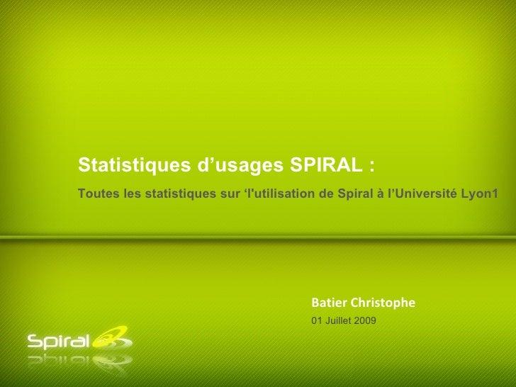 Statistiques d'usages SPIRAL : Toutes les statistiques sur 'l'utilisation de Spiral à l'Université Lyon1                  ...