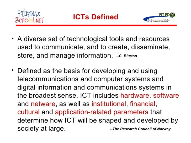 <ul><li>A diverse set of technological tools and resources used to communicate, and to create, disseminate, store, and man...