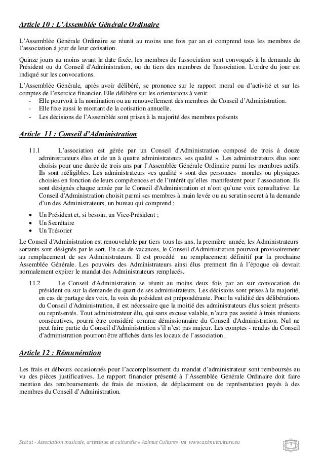 Modele statuts association musicale document online for Exemple de reglement interieur association