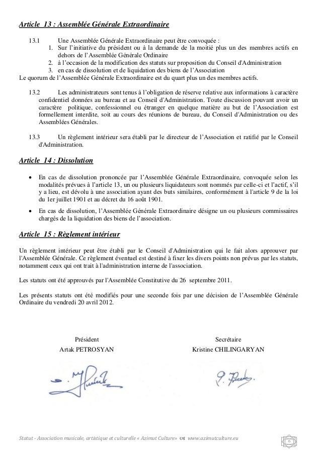 Modele statuts association musique document online - Demission du bureau d une association loi 1901 ...