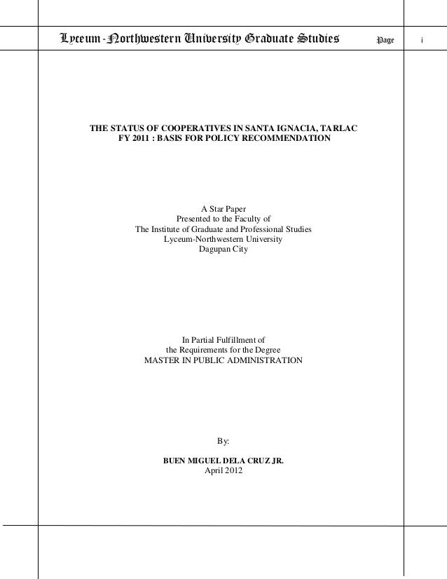 Status of Cooperatives in Santa Ignacia, Tarlac FY 2011: Basis for Policy Formulation
