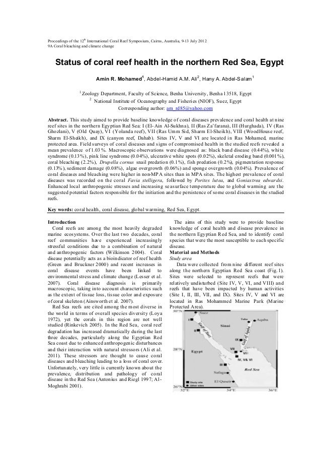 Status of coral reef health in the northern red sea egypt icrs 2012 paper