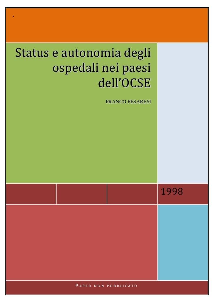 .    Status e autonomia degli           ospedali nei paesi                   dell'OCSE                          FRANCO PES...