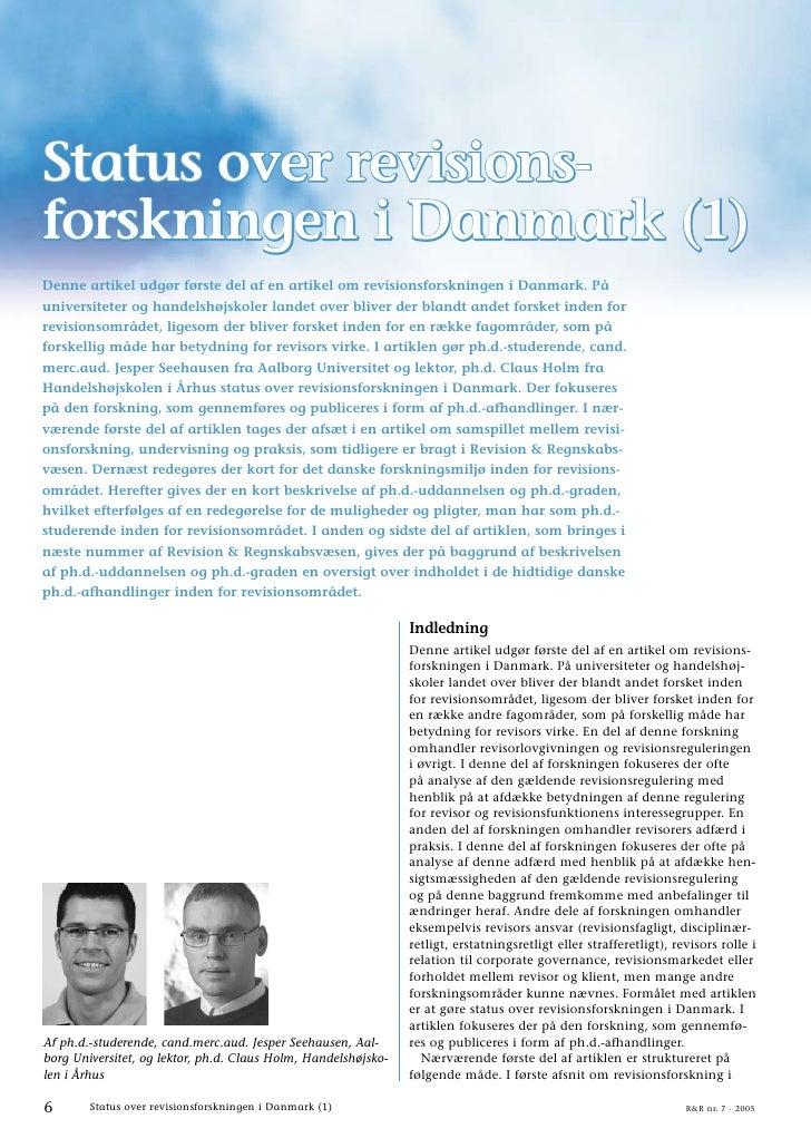 Status over revisionsforskningen i Danmark (1)