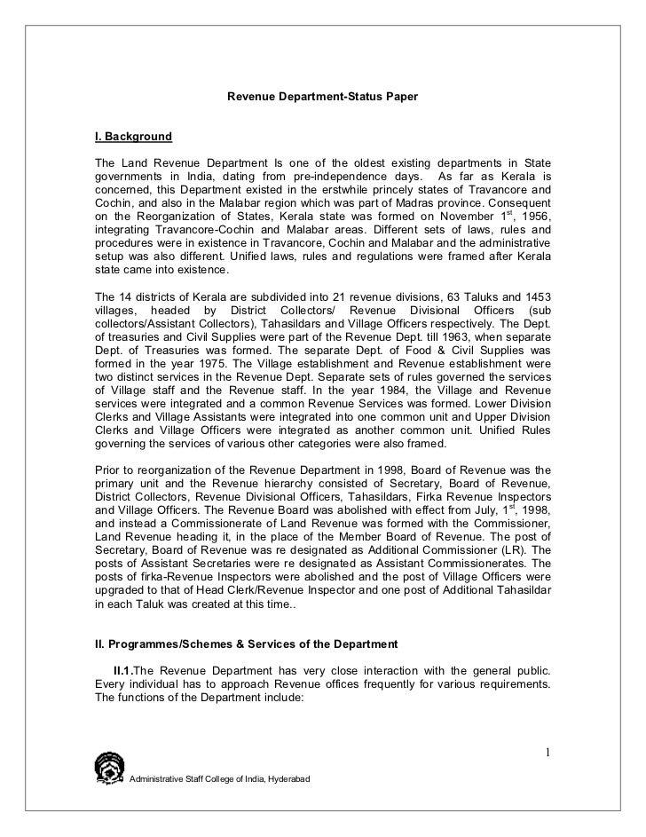 Status Paper Kerala Land Revenue Department