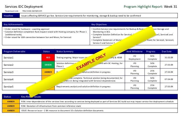 Program Project Status Report