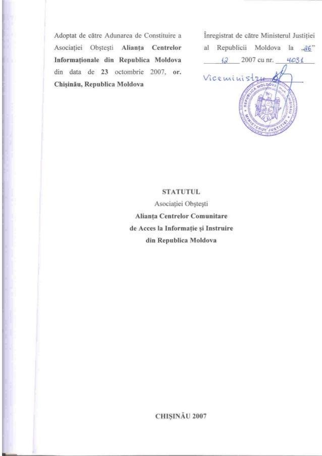 Statutul Aliantei CCAII din Moldova
