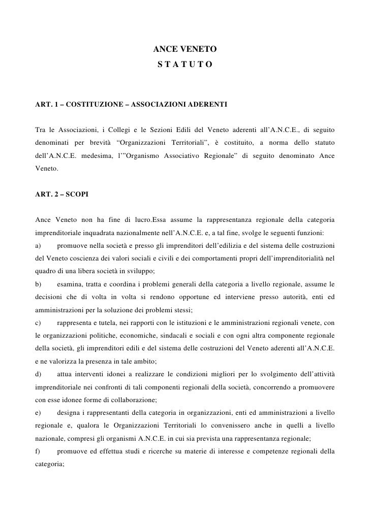 ANCE VENETO                                             STATUTOART. 1 – COSTITUZIONE – ASSOCIAZIONI ADERENTITra le Associa...