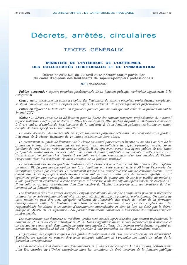 21 avril 2012 JOURNAL OFFICIEL DE LA RÉPUBLIQUE FRANÇAISE Texte 20 sur 110. .Décrets, arrêtés, circulairesTEXTES GÉNÉRAUXM...