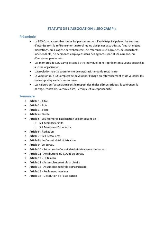 Statuts de l'association SEO Camp