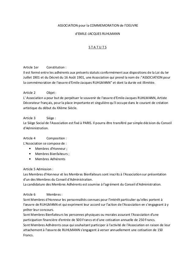 ASSOCIATION pour la COMMEMORATION de lOEUVREdEMILE-JACQUES RUHLMANNS T A T U T SArticle 1er Constitution :Il est formé ent...