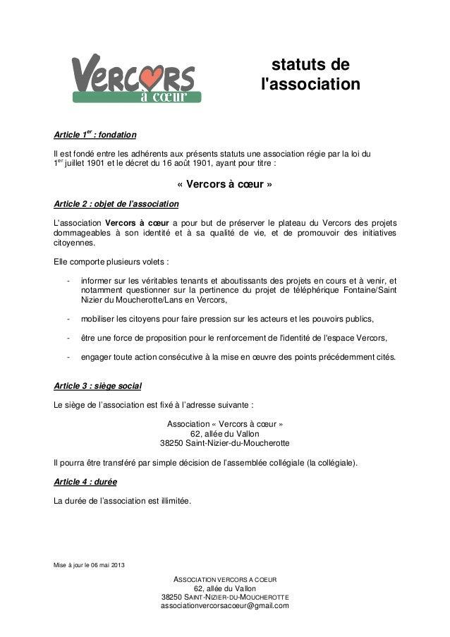 Mise à jour le 06 mai 2013ASSOCIATION VERCORS A COEUR62, allée du Vallon38250 SAINT-NIZIER-DU-MOUCHEROTTEassociationvercor...