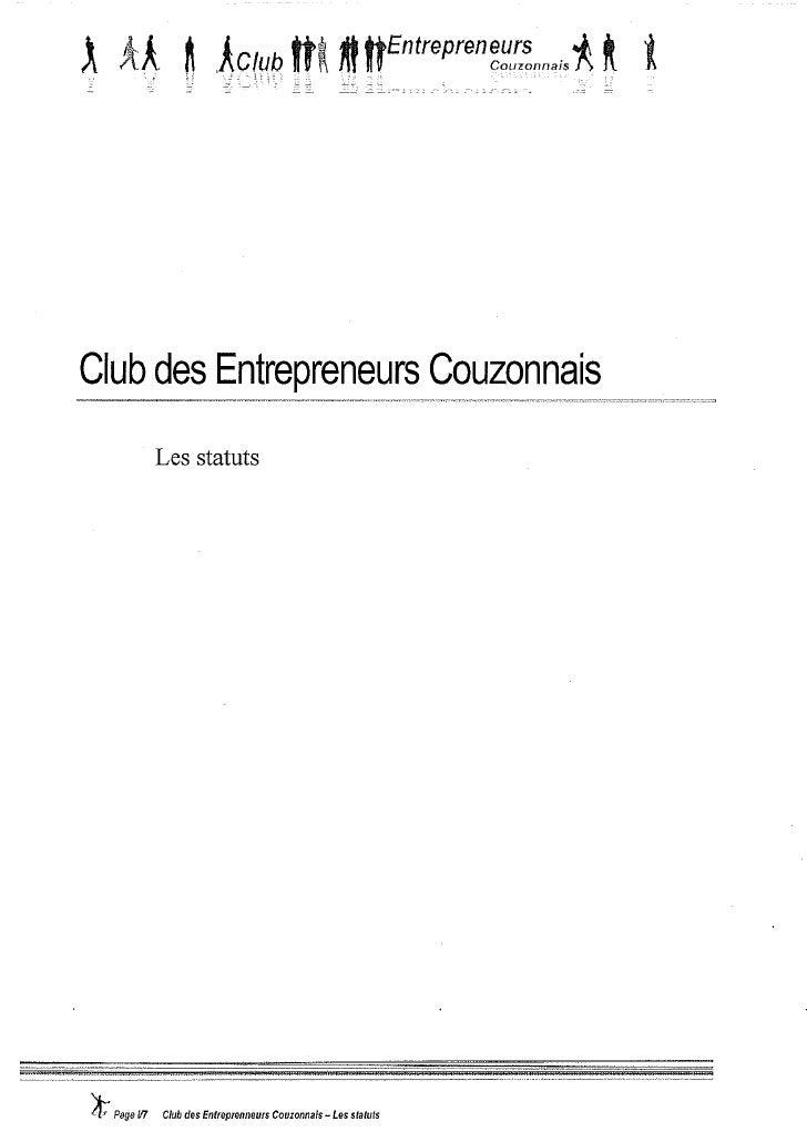 Statuts du club des entrepreneurs couzonnais