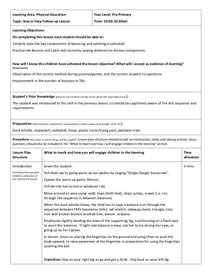 Learning	  Area:	  Physical	  Education	                                                       Year	  Level:	  Pre-­‐Prima...
